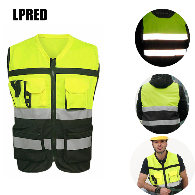 High Visibility Safety Vest Reflective Driving Jacket Night Security Waistcoat With Pockets For Work Run