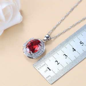Image 4 - Conjunto de joyas grandes para novia, collar y pendientes de granate rojo Natural, plata 925, bisutería de boda, joyería para mujer, caja de regalo