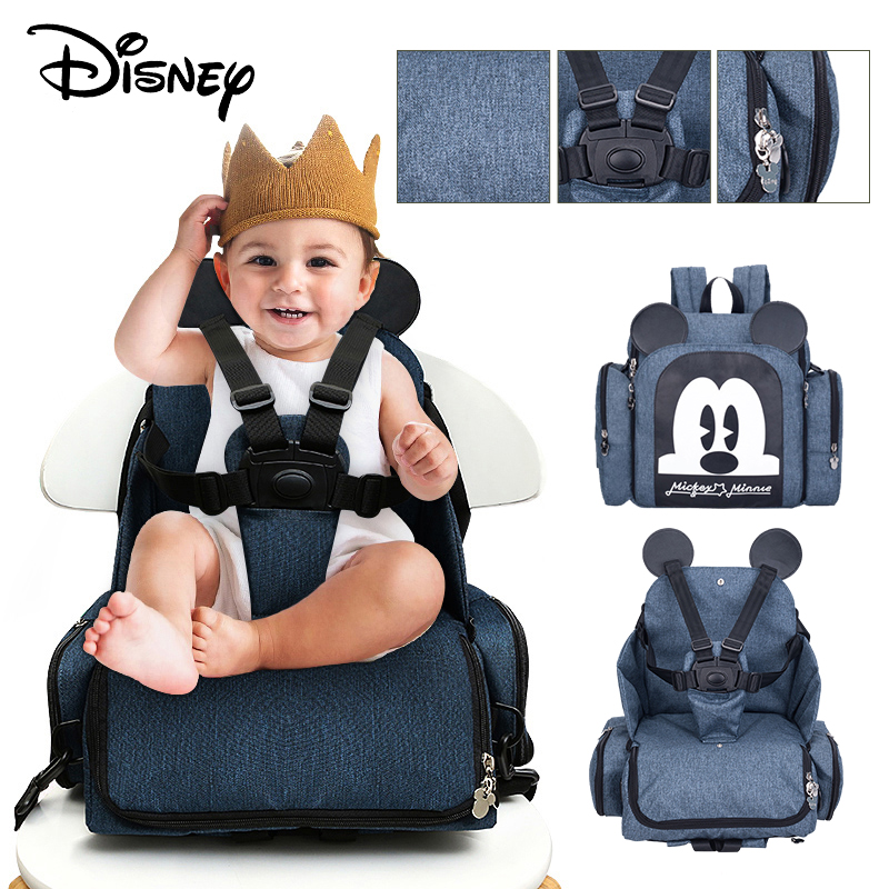 Disney Mickey Baby Diaper Bag Booster Mummy Maternity Nappy Bag Baby Diaper Bags Seat Waterproof Maternity Shoulder Travel Bag