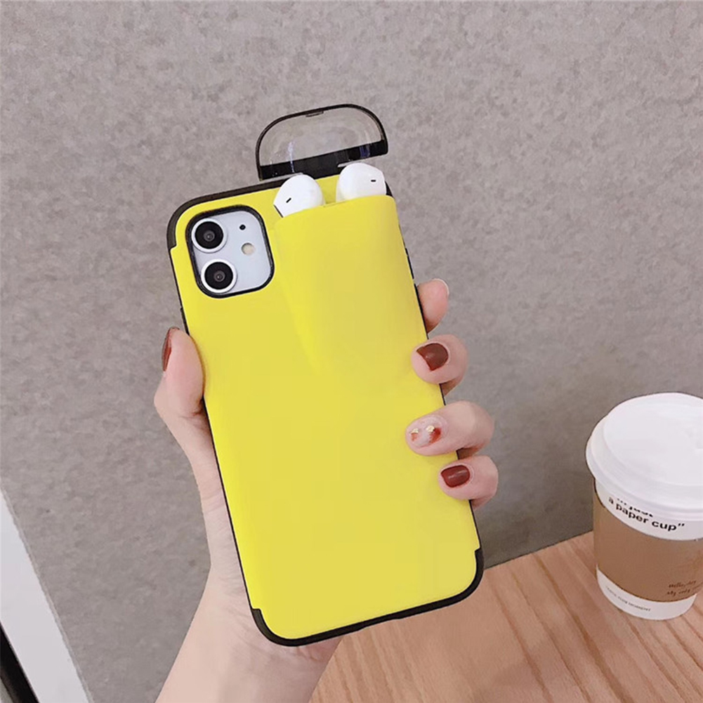Electronics - 2 In 1 Phone Case Earphone Storage Box For iPhone 11 Pro XS MAX XR X 7 8 Plus Airpods 1 2 Pro Soft Silicone Cover Headset Caps