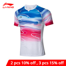 Li Ning Männer Badminton T shirts für Nationalen Team ZU TROCKEN Atmungsaktive Futter li ning Sport Wettbewerb Top T AAYP065 MTS3083