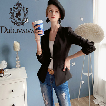 Dabuwawa Single Pearl Button Beaded Blazer Women Slim Fit Long Sleeve Elegant Blazers Jackets Coats Office Lady DN1AJK007 blazer 2016 new fashion women slim coats female brand pocket design long sleeve women blazers jackets d052