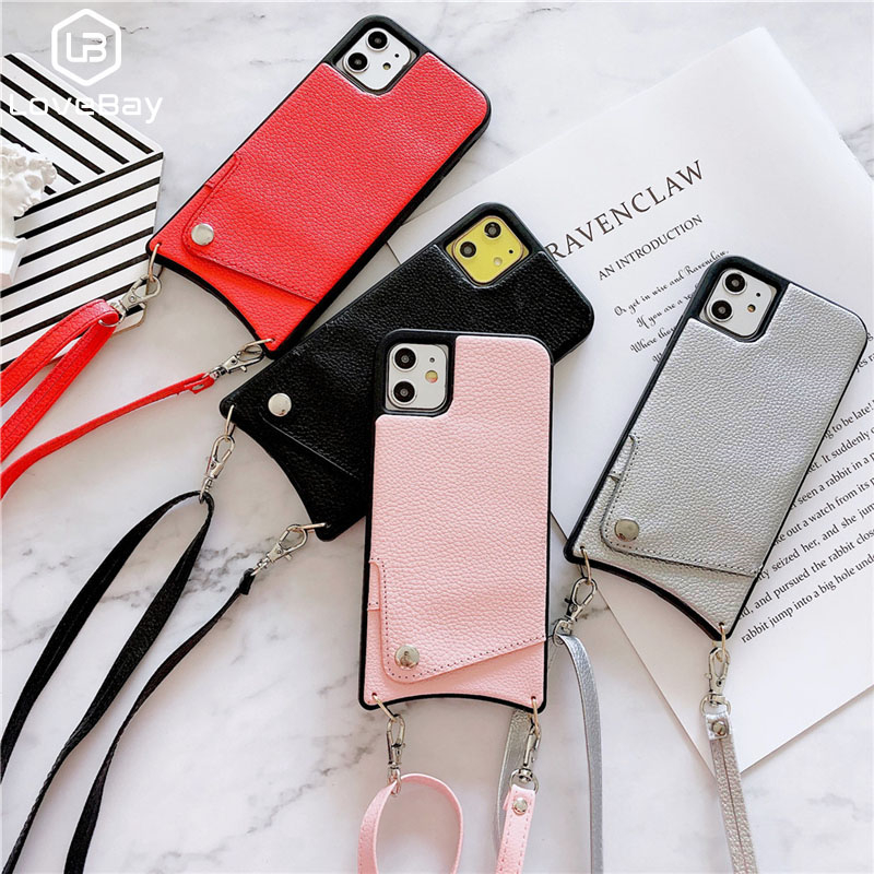 3.29US $ 35% OFF Lanyard Crossbody Wallet Phone Case For iPhone11 XS MAX XR X7 8 Plus Leather Card S...