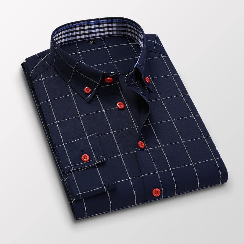 Handsome Fashion Men Shirts Casual Long Sleeved Plaid Shirt Regular Fit Male Blouse 4XL 5XL 12