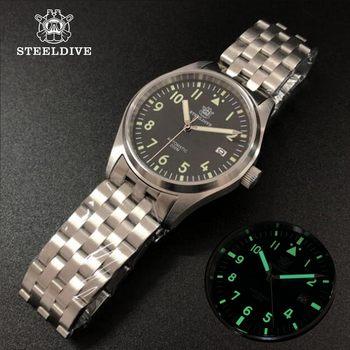 Steeldive Pilot zegarek automatyczny mechaniczny zegarek dla nurka C3 Luminous zegarki męskie nurków szafirowe 200m zegarek nurkowy NH35 tanie i dobre opinie 20Bar Składane zapięcie z bezpieczeństwem SPORT Nurkowanie Mechaniczna Ręka Wiatr Automatyczne self-wiatr 25cm STAINLESS STEEL