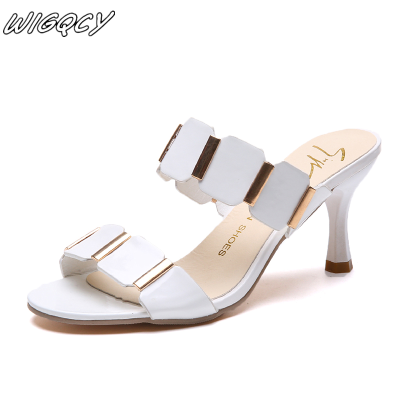 2019 Summer Patent Leather Stiletto Heels Solid Color Shallow Mouth Sequins Metal Decorative High Heels Set Foot Single Shoes