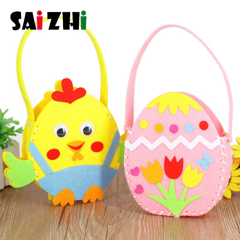 Saizhi Non-Woven Fabric DIY Handbag Children Craft Toy Mini Bag Non-woven Cloth Colorful Handmade Bag Cartoon Children Handbags