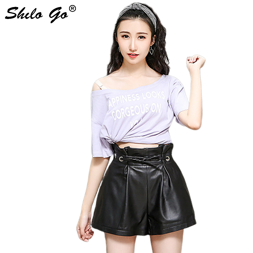 Leather Shorts Womens Autumn Fashion Sheepskin Genuine Leather Shorts Adjustable Ruffles High Waist Black Loose Shorts