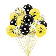 AVEBIEN 12inch Cartoon Bee Sequin Emulsion Balloon Set Baby Shower Birthday Theme Party Decoration Kids Black Yellow Round Ball