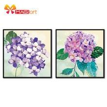 Çapraz dikiş kitleri nakış İğne setleri 11CT suda çözünür tuval desenleri 14CT çiçek tarzı mor flowers-NCMF185