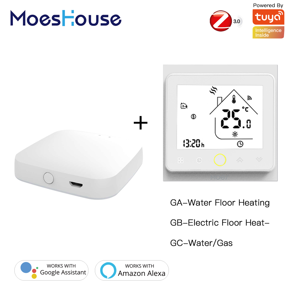 ZigBee Smart Thermostat Temperature Controller Hub Required Water Electric floor Heating Water Gas Boiler with Alexa Google Home