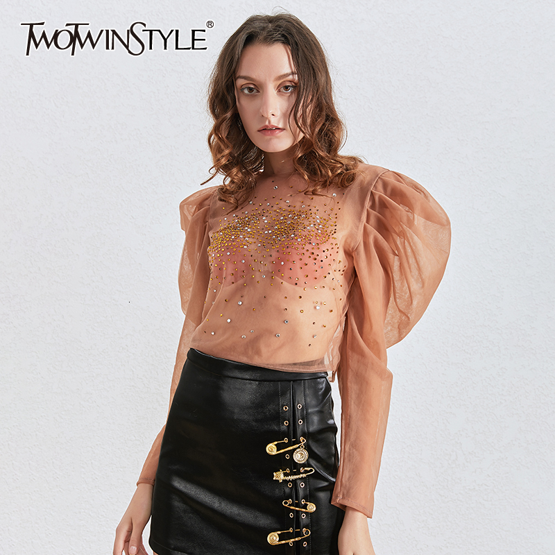 TWOTWINSTYLE Patchwork Diamonds Blouses For Female O Neck Puff Long Sleeve Tunic Ruched Shirts Women Fashion 2020 Clothing Tide