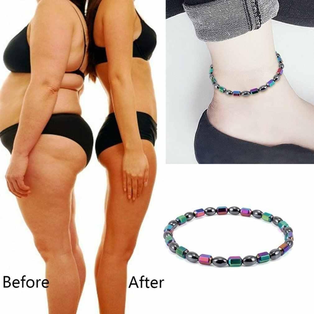 Terapia magnética colorida tobillera cuentas láser pie cadena saludable pérdida de peso Fitness tobillo pulsera