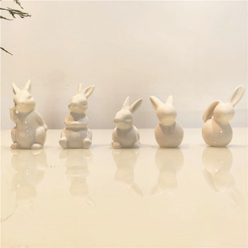 Ceramic Cute Pure White Rabbit Figurines Porcelain Table Home Decoration China Gift Modern Statue Handmade furnishings DHYY05 1