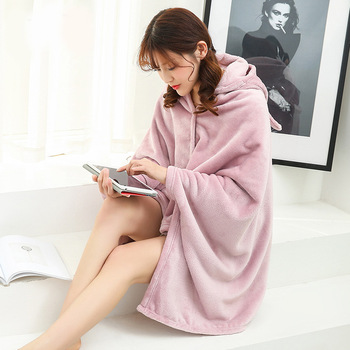 Winter Thick Comfy Hooded Cartoon Blanket Sweatshirt Soft Warm Throw TV Hoodie Blankets Fleece Blanket Adult for Sofa Beds Kids 4