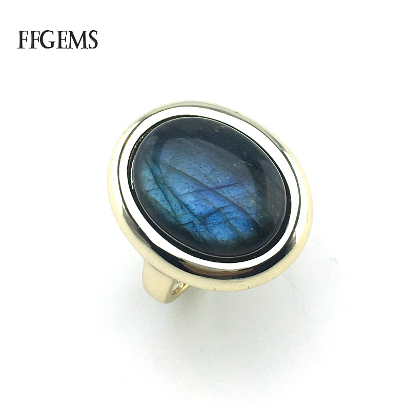 FFGems Natural Labradorite Rings Sterling Real 925 Silver Gemstone Fine Jewelry Women Engagement Wedding Gift