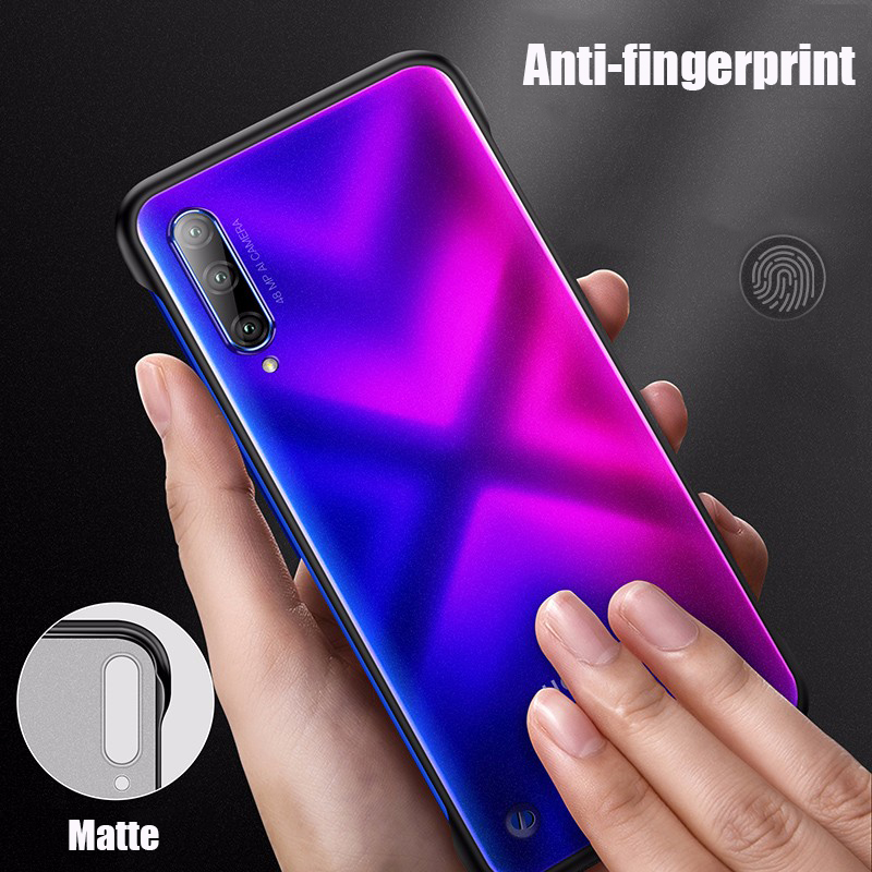 Frameless Case For Huawei Honor 9X Case Transparent Matte Back Cover For Huawei Honor 9X Pro Phone Case Free Ring Buckle in Fitted Cases from Cellphones Telecommunications