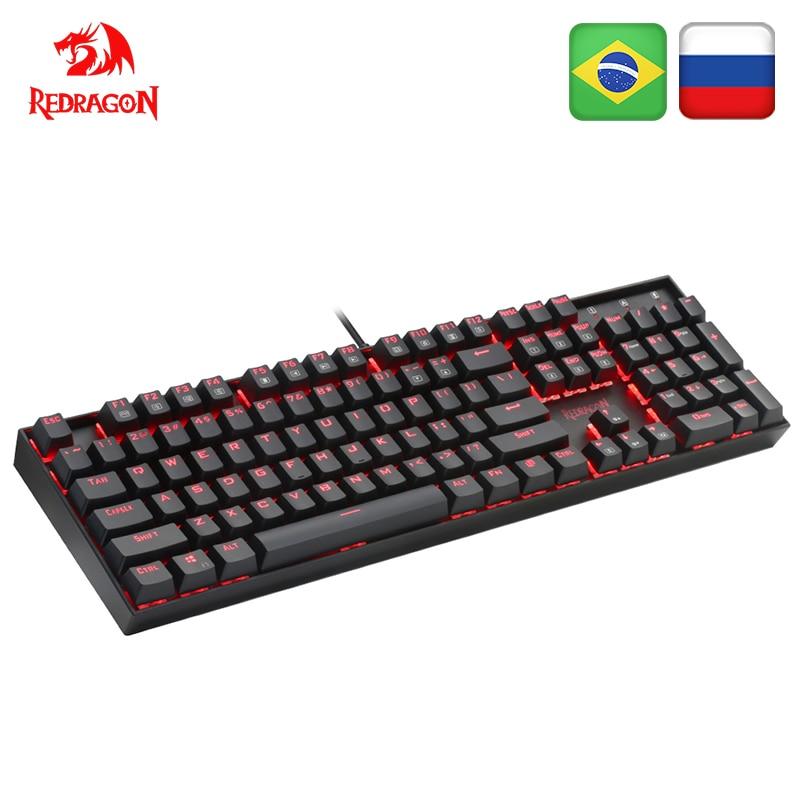 Redragon mitra k551 usb teclado de jogos mecânico interruptor azul diy 104 chave backlit pc gamer russo keycaps ou espanhol adesivo