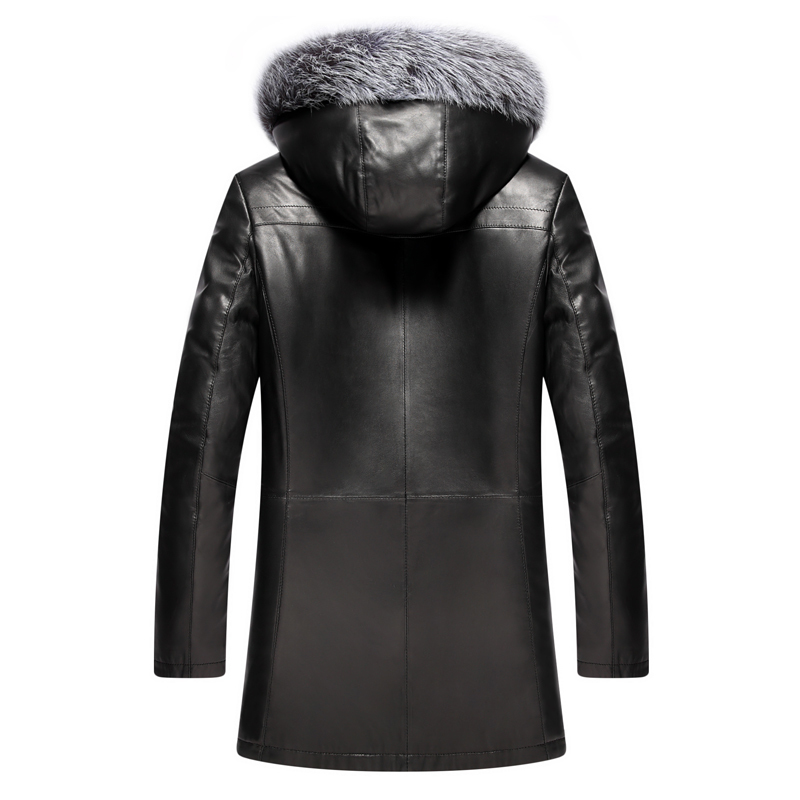 Winter Genuine Leather Jacket Men Real Fox Fur Liner Sheepskin Coat For Men Hooded Natural Fur Coats And Jackets KJ1365