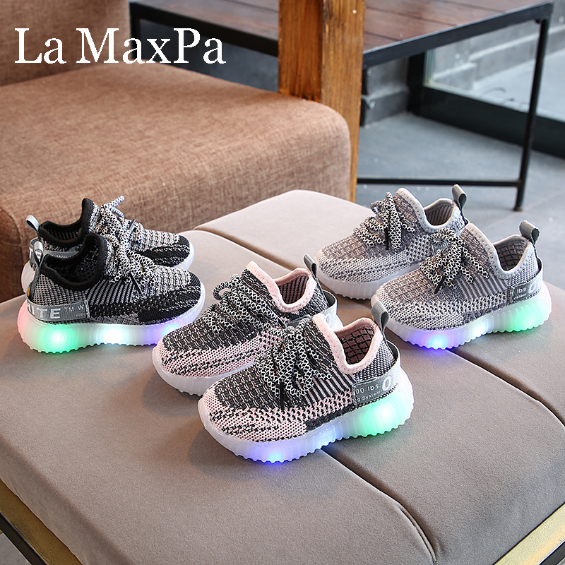 2020 New Baby Flashing Lights Sneakers Toddler Little Kid LED Sneakers Children Luminous Shoes Boys Girls Sport Running Shoes