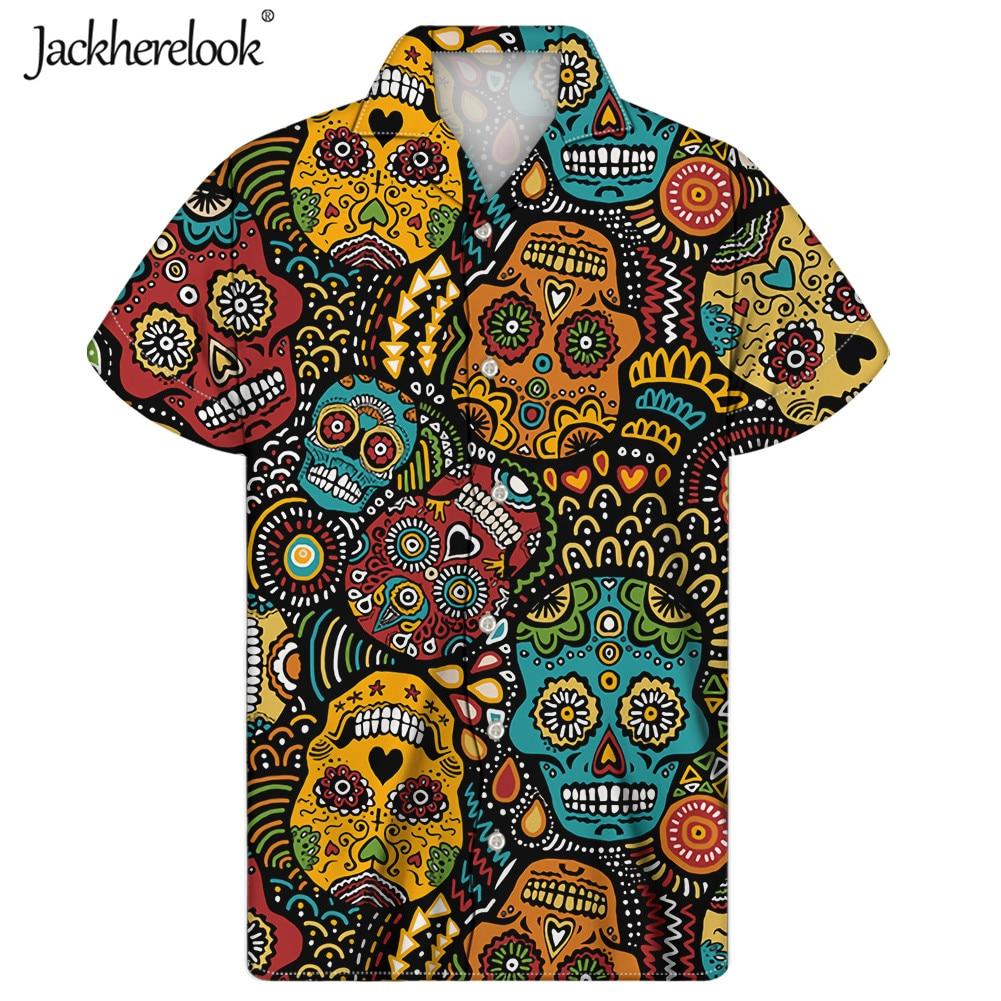 Jackherelook Men Cuban Shirt Vintage Sugar Skull Brand Design Guayabera Camisa Hombre For Men's Clothing Short Sleeve Top Shirts