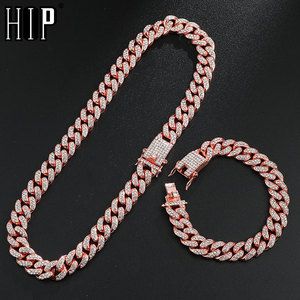Hip Hop 1Set 13MM Gold Full Iced Out Paved Rhinestones Miami Curb Cuban Chain CZ Bling Rapper Necklaces For Men Jewelry