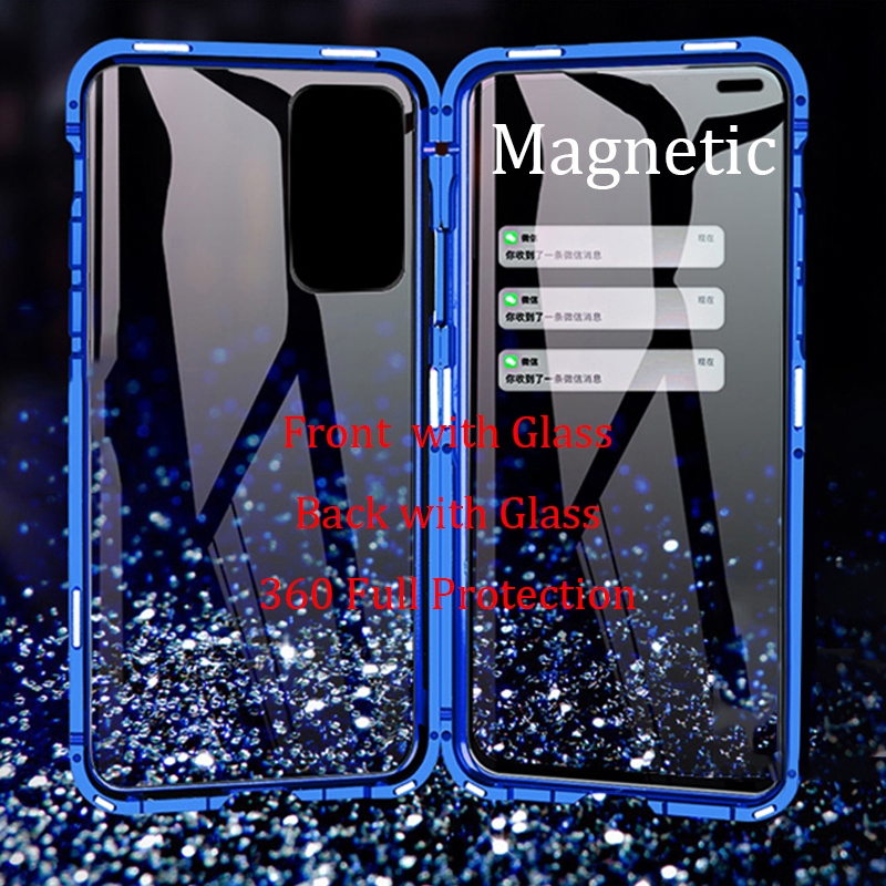 For Huawei P40 Pro Magnetic Case P40Pro 360 double-sided Tempered Glass Case for Huawei P40 Lite Nova 7i Metal Bumper Case