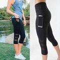 Mulheres Legging de Retalhos de Malha Preto Leggings Capri Plus Size Esportivos Calças de Fitness Sexy com Calças Bolso Mid-Calf