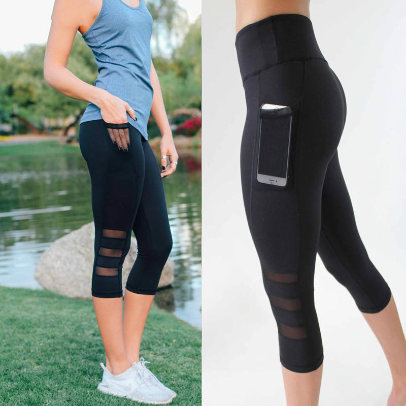 Women Legging Patchwork Mesh Black Capri Leggings Plus Size Sexy Fitness Sporting Pants With Pocket Mid-Calf Trousers