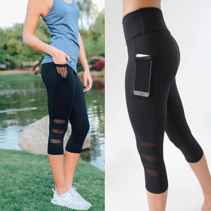 Women Legging Patchwork Mesh Black Capri Leggings Plus Size Sexy Fitness Sporting Pants With Pocket Mid-Calf Trousers