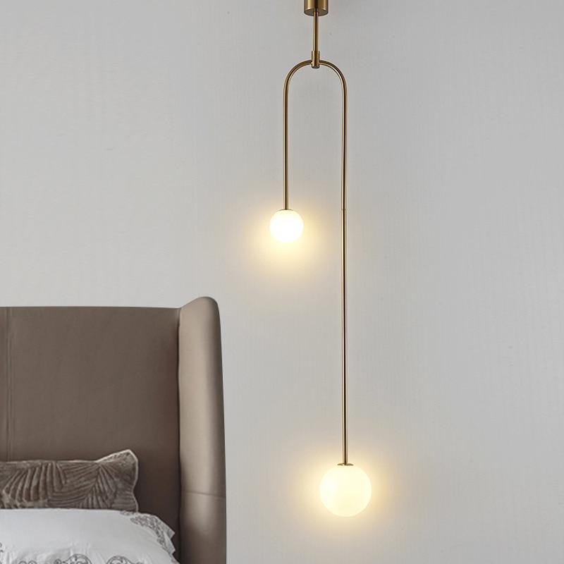 Modern Glass Ball Pendant Lighting For Bedroom/Hotel Nordic Gold Pendant Lamp /Hanging Lights Art Deco Pendant Lamp Home Indoor