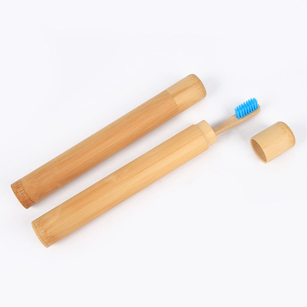1PC Bamboo Toothbrush Case Novelty Wooden Teeth Brush Soft-bristle Bamboo Fibre Wooden Handle Bamboo Tube Holder image