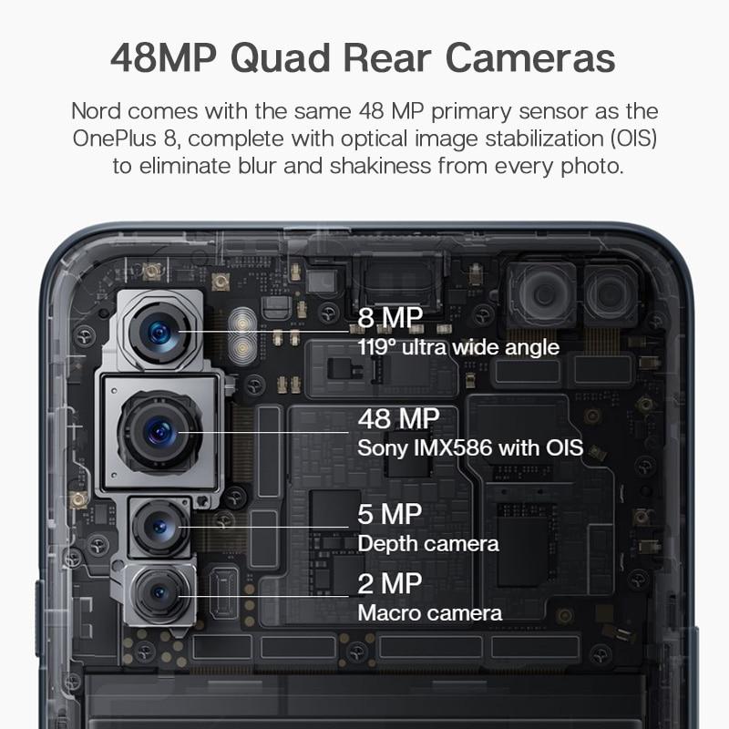 OnePlus Nord 5G 8GB 128GB Global Version Smartphone 6.44'' 90Hz AMOLED Display 48MP Quad Camera Snapdragon 765G Mobile Phone