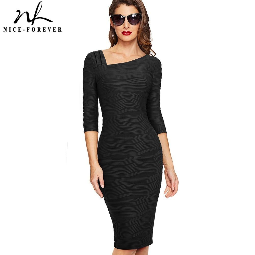 Nice-forever Elegant Vintage Solid Color Back V Wear To Work Vestidos Business Party Bodycon Office Women Pencil Dress B461
