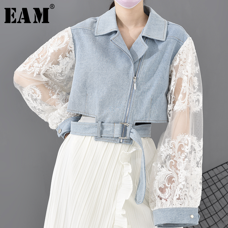 [EAM] Loose Fit Lace Stitch Denim Bandage Short Jacket New Lapel Long Sleeve Women Coat Fashion Tide Spring 2020 1D63805