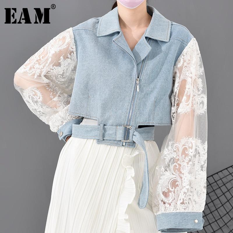 [EAM] Loose Fit Lace Stitch Denim Bandage Short Jacket New Lapel Long Sleeve Women Coat Fashion Tide Spring 2020 1D63805