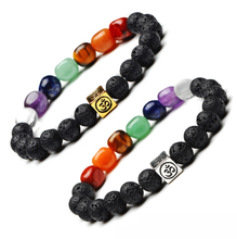 Electroplating Block 8mm Natural Stone Charm Fashion Volcano Shape Seven Chakras Yoga Beaded Bracelet Accessories чемодан roncato spirit l 79см 3171 11