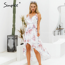 Simplee Sexy v-neck spaghetti strap women summer dress Elegant floral print asym