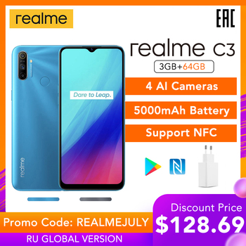 "Realme C3 Global Version 3GB 64GB Mobile Phone Helio G70 12MP AI Camera 6.5"" HD+ Mini-drop Screen 5000mAh Battery Play Store NFC"