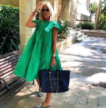 Women Vintage Floral Print Loose Dress 2021 Summer O-Neck Petal Short Sleeve Dress Elegant Casual Party Dress 3XL Vestido