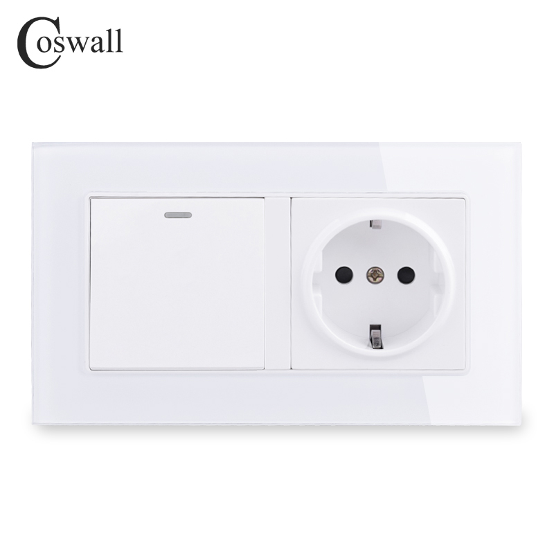 COSWALL Crystal Glass Frame EU Standard Wall Socket Grounded + 1 Gang 2 Way Pass Through On / Off Light Switch Switched 146*86mm