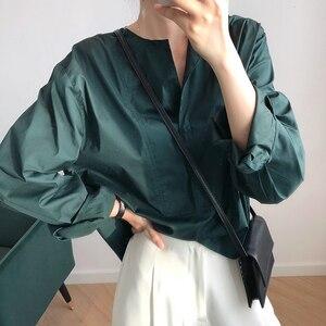 Image 5 - CHICEVER เกาหลีเสื้อลำลองผู้หญิงสแควร์คอโคมไฟแขนขนาดใหญ่เสื้อหลวมหญิง 2019 แฟชั่นฤดูใบไม้ร่วงใหม่