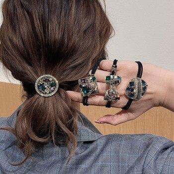 Fashion Elegant Elastic Hair Bands Crystal Rhinestone Bow Women's Ponytail Head Rope Tie Korean Exquisite Girls Accessories - discount item  50% OFF Headwear