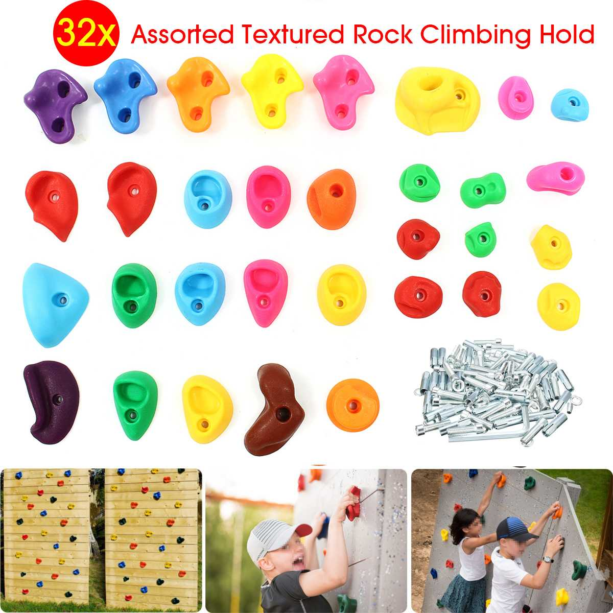 32Pcs/set Assorted Textured Rock Climbing Frame Mixed Color Rock Climbing Wall Stones Hand Feet Holds Grip Kids Sport Toys