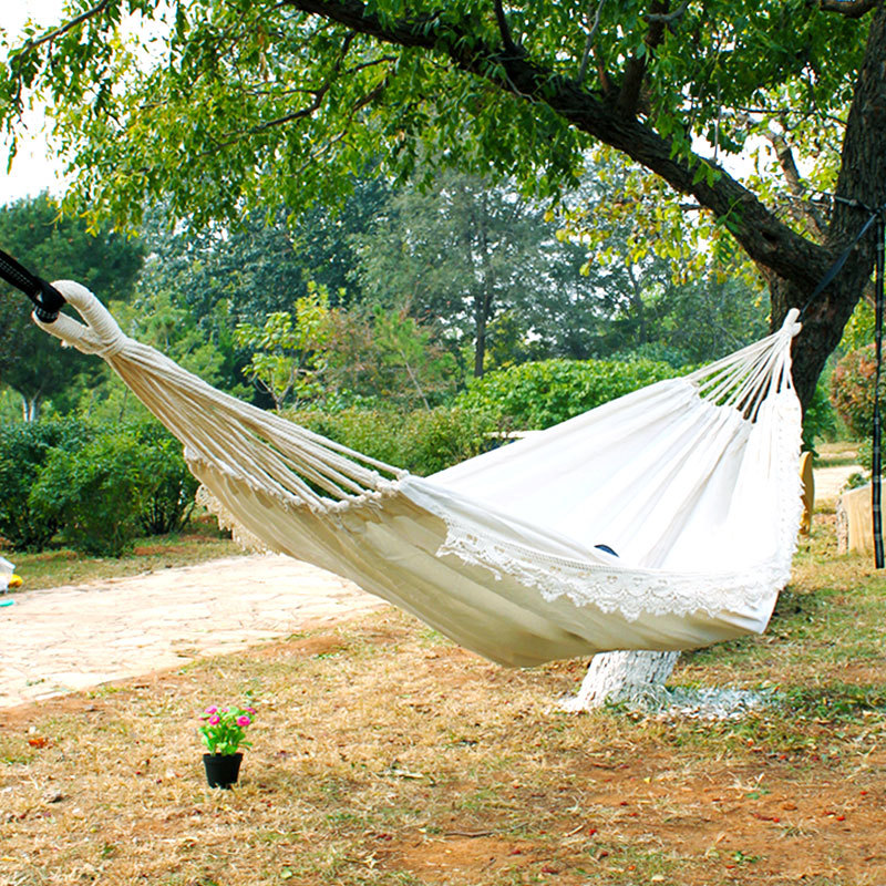 100% Cotton Canvas White Hammock With Lace Double Indoor Outdoor Casual Adult Wild Camping Swing Hammock