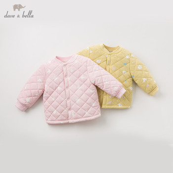 DB12755 dave bella winter baby girls cartoon print coat infant padded jacket children high quality coat kids padded outerwear image