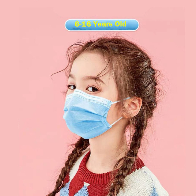 6-16 years old Children's 3 Layers Face Mask Kid Non-woven  PP Face  Anti-bacterial Anti-flu  Disposable Mask Health Care FF
