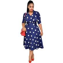 Dashiki African Dresses For Women V Neck Half Sleeve Polka Dot Print Long Dress Pockets Belted High Waist African Clothing