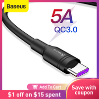 Baseus-Cable USB tipo C 5A para Huawei P30 Mate 30 Pro, carga rápida 3,0, carga rápida, Xiaomi 9 USB-C