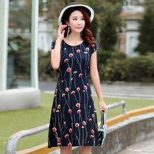 Vintage summer dress women casual short sleeve o-neck print plus size dresses vestido